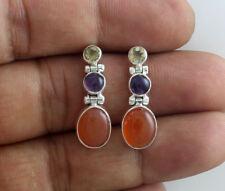 925 sterling silver earrings natural amethyst citrine Carnelian gemstone jewelry