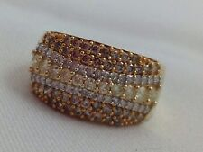 THREE COLOR DIAMONDS SET IN 14K YELLOW GOLD RING SIZE 8.25