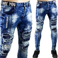 Jeans Uomo Pantaloni Strappati Slim Fit Aderenti Elastici Toppe Sfilacciato Blu