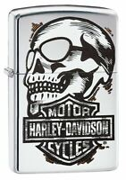 Zippo Harley-Davidson Skull & Logo High Polish Chrome Pocket Lighter