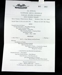 Vintage 1969 NASCAR Norwood Area Speedway Awards Banquet Invitation & Report