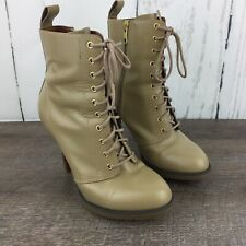 Dr Martens US 6 High Heel Kimora Boots 10 Eye Lace Up Beige Leather Side Zip