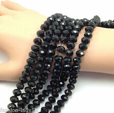 4mm 100pcs Black New Rondelle Faceted Crystal Glass Loose Spacer Beads Jewelry