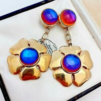 Gorgeous 1980s Signed Large Statement Floral Goldtone Clip on Earrings
