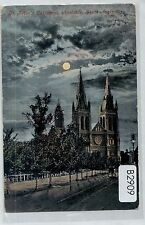 B2909cgt Australia SA St Peters Cathedral Moonlight Adelaide pu vintage postcard