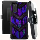 Holster Case For Galaxy S20 / S20 PLUS/ S20 ULTRA Phone Cover- PURPLE CAMO BADGE