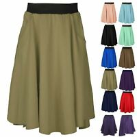 Plus Size Women Ladies Back Pocket Hi Lo Dip Scuba Midi Knee Length Skater Skirt