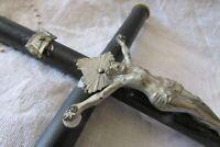 """Antique French Black Turned Ebonised Wood Altar Shrine Crucifix Cross 14"""" xBones"""