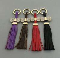 Leather Tassel Bows Crystal Rhinestone Handbag Purse Bag Keychain Key Ring