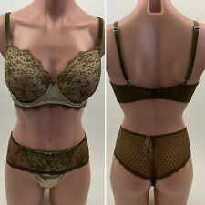 NWT Victoria's Secret Dream Angels Lined Demi Bra 36DDD / Thong XL  Green Set