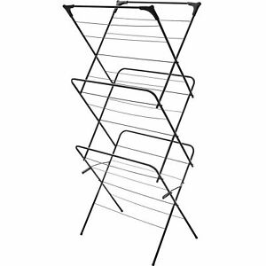CLOTHES AIRER 3 TIER DRYING 14M INDOOR OUTDOOR LAUNDRY HOME DRY BLACK RACK NEW