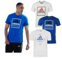 adidas QQR Roots Mens Cotton Crew T-Shirt - S to XL  White Blue  sport gym