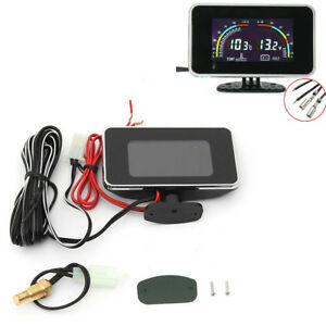 2 IN 1 LCD Digital Display Car Truck Water Temp Meter Voltage Gauge Voltmeter x1