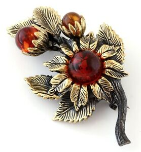 Summer Flowers Brass Bronze Brooch Pin Vintage Style Baltic Amber Floral Design