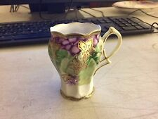 Antique Nippon Porcelain Hand Painted Chocolate Cup Violets Beaded Gold