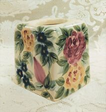 Vintage Square Ceramic Kleenex Tissue Box Cover Floral Pink Yellow Blue Green