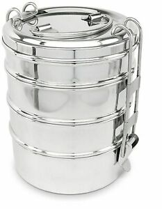 Lunch Box 4 Tier Indian Tiffin Stainless Steel  Round Food Container Carrier Set