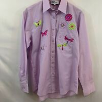 Las Olas Womens Purple Butterfly Flower Embroidered Button Front Shirt Size M