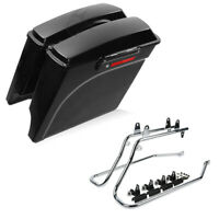 """5"""" Extended Stretched Hard Saddlebags+Conversion Brackets Fit For Harley Softail"""