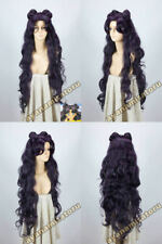 Sailor Moon Luna Artemis New Long Purple Black Hair wig Cosplay Party Wigs
