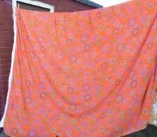FAB Vintage Retro 1970s Fringed Flower Power Bedspread VW Camper. orange & pink