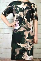 NEXT UK 6 LADIES TAGGED £38 BLACK FLORAL SHIFT DRESS 942