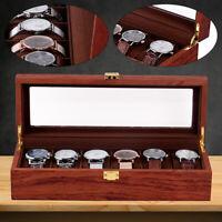 6 Grid Wooden Watch Case Display Storage Box Jewelry Organizer Collection Holder
