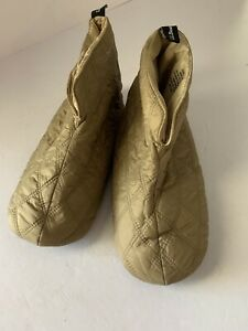 L.L. Bean Unisex Quilted Nylon Slippers Gold Color