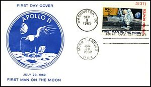Scott C76 - 10 Cents Man On The Moon Unknown FDC Unaddressed Planty C76-??
