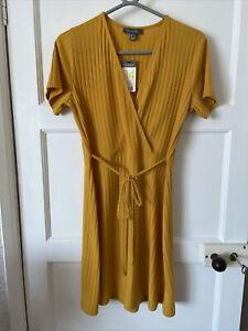 Primark Ribbed Ladies Mustard Dress Short Sleeve Uk 14 New