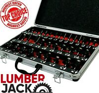"""1/4"""" Shank 35 Piece TCT Router Cutter Bit Set with Aluminium Case Trade Quality"""