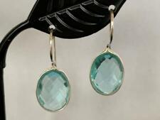 925 Sterling Silver Blue Topaz Earrings Gemstones Tear Drop Round Oval Faceted
