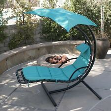 Hanging Chaise Lounger Chair Arc Stand Air Porch Swing Hammock Chair Canopy Blue