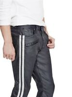 G By Guess Men's Sabain Striped Sides Moto Skinny Jeans Coated Jet Black Size 32