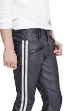 G By Guess Men's Sabain Striped Sides Moto Skinny Jeans Coated Jet Black Size 31