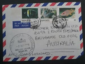 1960 Vanuatu Airmail Cover ties 3 stamps cancelled Port Vila