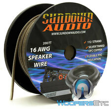 SUNDOWN AUDIO 16AWG BLACK SILVER 200FT OFC SILVER TINNED COPPER SPEAKER WIRE NEW