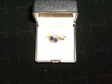 Vintage 14kt Ladies Yellow Gold 2 Lg Blue Sapphire and 12 Diamonds, Ring Sz 6.5