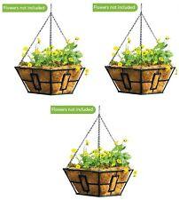 "(3) ea Panacea 87850 14"" Black Square Metal Contemporary Hanging Basket Planters"