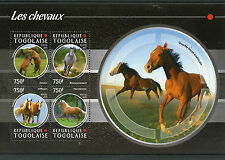 Togo 2015 MNH Horses 4v M/S Fauna Chevaux Hensons Mustang Haflingers