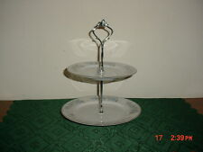 "LENNOLD ""RHAPSODY"" SMALL 2-TIER TIDBIT SERVER/1812/BLUE-WHITE/FLORAL/FREE SHIP!"