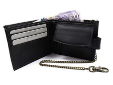 BLACK LEATHER WALLET CHAIN CREDIT CARD HOLDER COIN POUCH PURSE RFID PROTECTED