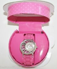 SANRIO HELLO KITTY PINK SILICONE BAND+SILVER TONE DIAL+CRYSTALS WATCH-HK2256+BOX