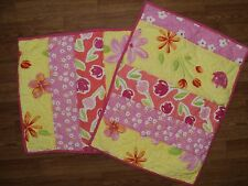 POTTERY BARN KIDS Posies Set of 2 Quilted Shams Yellow and Pink Floral EUC
