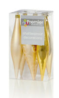 18 x Champagne Gold Icicle Drop shatterproof Christmas Tree Baubles Decorations