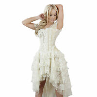 Ladies Cream Prom Steampunk Victorian Gothic Lace Vintage Evening Corset Dress
