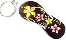 Porte clé clef Tong Tongue Bois Artisanal Fleur wooden key holder foot cle