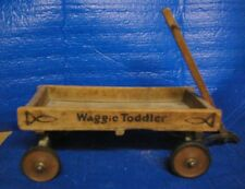 """ANTIQUE Small Child /Doll wood wagon """"Waggie Toddler """" for Doll Teddy Bears"""