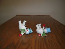 "Pair Vintage Ceramic Snowman Sliding 2 1/2 "" tall"