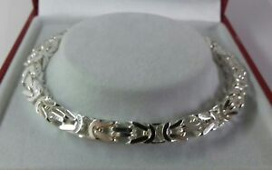 Sterling Silver Gents Solid Byzantine Bracelet.8.5 inch. 25.9 grams ☆Hallmarked☆